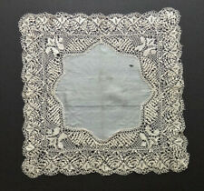 "Antique MALTESE Bobbin LACE Silk HANKY 14x14"" Heirloom, Intricate Hand Made FINE"