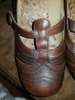 HUSH PUPPIES BROGUE DESIGN BROWN LEATHER MARY JANES SIZE 6 39 ROCKABILLY 50'S