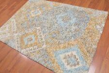 "4'9"" x 6'7"" Handmade Shag Contemporary 100% Wool Area rug Beige"