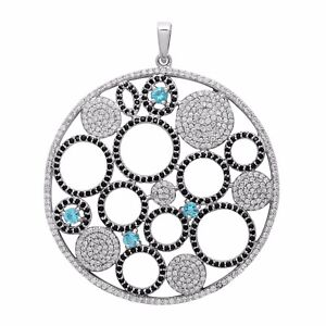 Free Shipping White Topaz With Black Spinel 925 Sterling Silver Cluster Pendant