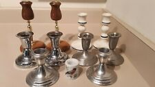 Large Lot of 11 Candle Holders 2 Pewter 2 Myrtlewood 3 Ceramic 4 Other Metals