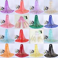 Women Elegant Peacock Pattern Scarf Long Soft Lace Gauze Wrap Shawl Stole Scarf