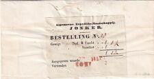 Omslagexpeditie maatschappij Jonker  (strook) naar Amsterdam potlood 16 apr 1847