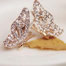 New Fashion Women Lady Elegant Butterfly Crystal Rhinestone Ear Stud Earrings
