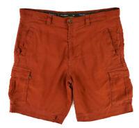 TOMMY BAHAMA Burnt Orange Silk Linen Flat Front Cargo Shorts ~ Men's Size 32