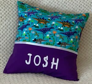 CHILDS / BOYS / PERSONALISED NAME CUSHION COVER / KINDY PILLOW - Dinosaurs -