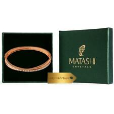 Rose Gold Plated Charming Double Bangle with Sparkling Crystals by Matashi