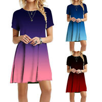M-3XL Women Boho Loose Gradient Dress Short Sleeve Beach Casual Tunic Mini Skirt