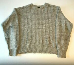 Vintage American Eagle Pullover Sweater Jumper Mens XL Gray Wool Waffle Knit