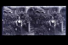Portrait d'une femme Plaque de verre stéréo NEGATIF vers 1925