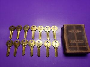 14 PC LOT KEIL #K2 VINTAGE KEY  BLANKS BRASS MADE IN CHARLESTOWN NEW HAMPSHIRE