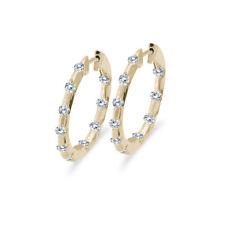 14k Yellow Gold .50 Ct Diamond Inside Outside Hoop Earrings