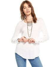 NWT CHASER WOMEN SzL OPEN NECK BUTTON CUFF LONG SLEEVE RIB TEE IN WHITE