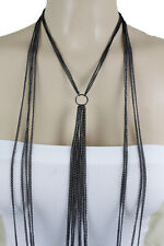 Charm Black Body Chain Size Xs S Women Fashion Long Sexy Harness Necklace Ring
