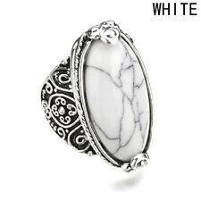 New Vintage Men Women 925 Silver Turquoise Gem Wedding Jewelry Ring Size 7-10