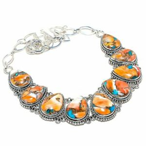 """Spiny Oyster Copper Turquoise Ethnic 925 Sterling Silver Necklace 18"""""""