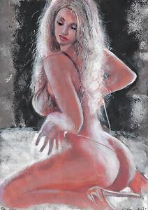 original painting A4 388UV art samovar modern Mixed Media female half-naked