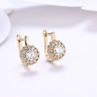 Splendid Jewelry White Sapphire Crystal Womens 18K Gold Platinum Filled Earrings