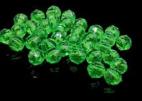 10 Vintage Faceted Lime Green Round Beads Crafts Jewelry Making 6 mm