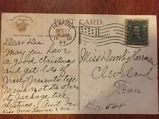 "Stamp Vintage Ben Franklin 1 Cent US Postage ""Flag Cancelled""  1908 w/ Postcard"