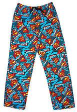 Hommes Officiel Superman S Logo Pantalon De Détente Long Bas Pyjama Bleu M L XL