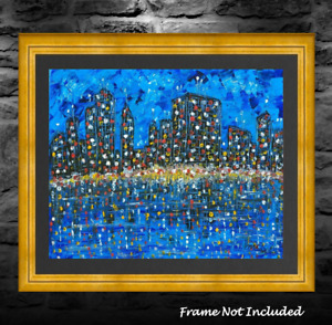 Original Cityscape Painting Abstract Mid-Century Modern Style Moody Surreal Art