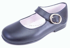 DE OSU-FARO - Girls Navy Blue Leather Mary Jane Dress Shoes - European Size 4-9