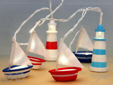 Hand-Painted Nautical Boat & Lighthouse Stringlights - Battery-Operated 9 LEDs