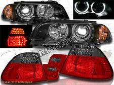 00-03 BMW E46 2DR HALO PROJECTOR HEADLIGHTS +CORNER+RED SMOKE LED TAIL LIGHTS