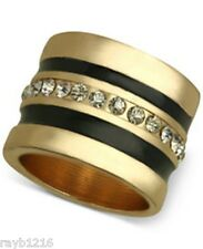 NWT Guess Gold Metal & Black Enamel Clear Rhinestone Band Ring, Size 7