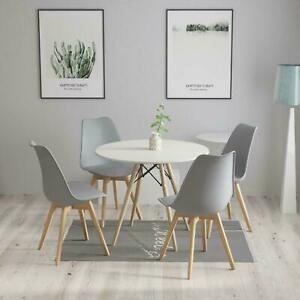 Circular Dining Table Set Four 4 Dinner Kitchen Chairs White Solid Beech Wood
