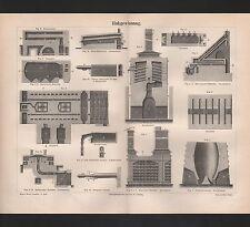 Lithografien 1890: Zinkgewinnung. Zink Muffel Zinkraffinerieofen