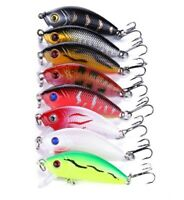8x Trolling Bait Minnow Fishing Lure Bass Crankbait Tackle Wobbler 10# Hooks Set