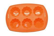 Silicone Baking Tray 6 Cups Flower Shape Orange