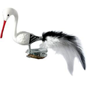 Vogel Storch Mini-Storch 6cm Schatzhauser - Lauschaer Glaskunst, Thüringer Weihn