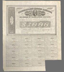 """Confederate States Of America 1863 $1000 Civil War loan bond  17x14"""""""