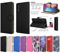 For Samsung Galaxy A20e A202F New Black Leather Wallet Phone Case + Screen Glass