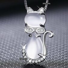JEWELLERY SALE Silver Cat Crystal Necklace Women Wife Mother Ladies Gift For Her