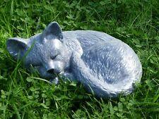 Steinfigur Gartenfigur Katze anthrazit groß