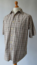 Men's Beige Checked Timberland Short Sleeved Shirt Size M, Medium.