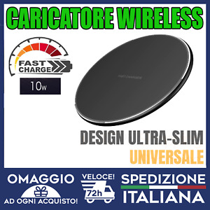 CARICATORE Wireless fast-charger VELOCE QI per iPhone Samsung huaweii10w 🇮🇹