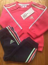Adidas Originals Kids Tracksuit Infant Girls Pink Navy Cotton Sizes 3-24 months