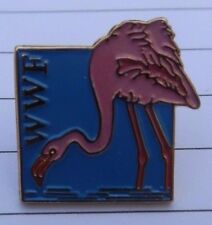 WWF WORLD WILDLIFE FUND FLAMINGO BIRD PIN BADGE NOT RSPB YOC