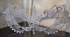 Silver Grey Masquerade Mask & Diamantes New Year Halloween Masked Balls Weddings