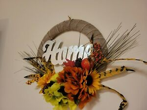 HOME Sunflower Hydrangeas Feather Mini Pomegranate burlap WREATH FALL Front Door