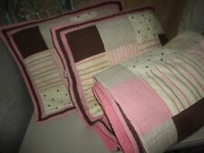 NAUTICA SAVANNAH PATCHWORK PINK BROWN POLKA DOTS STRIPES FULL/QUEEN QUILT SET