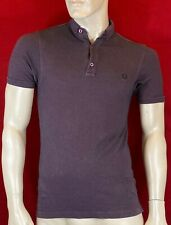 FRED PERRY Men's Slim Fit Burgundy Logo Pique Polo Shirt Size XS Chest 33""