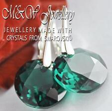 925 STERLING SILVER EARRINGS CRYSTALS FROM SWAROVSKI® 14MM CLASSIC CUT - EMERALD