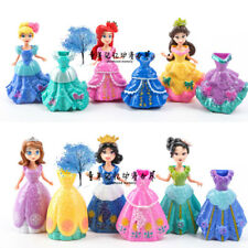 6 Disney Princess With 12pcs Magiclip DIY Changed Dress Action Figures Kids Toy