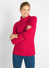 Red Chunky Rib Knit Polo Neck Sweater, Roll Neck Jumper size 18/20